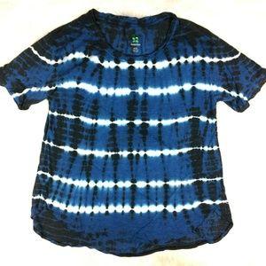 Green Tea Blue White Tie Dye T-Shirt Top